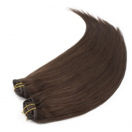 28 inch (70cm) Deluxe clip in human REMY hair - dark brown