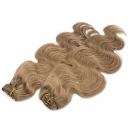 20 inch (50cm) Deluxe wavy clip in human REMY hair - light brown