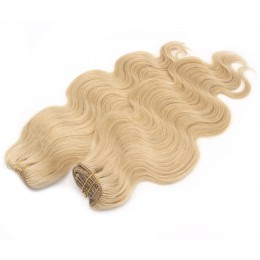 20 inch (50cm) Deluxe wavy clip in human REMY hair - natural blonde