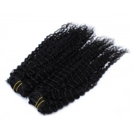 20 inch (50cm) Deluxe curly clip in human REMY hair - black