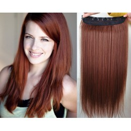 16 inches one piece full head 5 clips clip in hair weft extensions straight – copper red