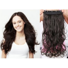 One piece full head 5 clips clip in hair weft extensions wavy – black