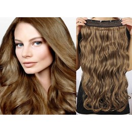 One piece full head 5 clips clip in hair weft extensions wavy – light brown