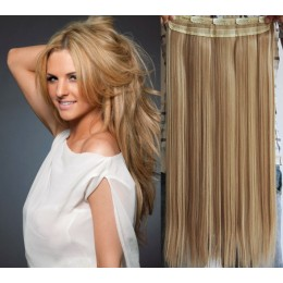 20 inches one piece full head 5 clips clip in hair weft extensions straight – mixed blonde
