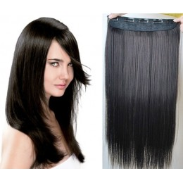 24 inches one piece full head 5 clips clip in hair weft extensions straight – black