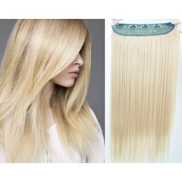 24 inches one piece full head 5 clips clip in hair weft extensions straight – the lightest blonde