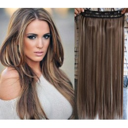 24 inches one piece full head 5 clips clip in hair weft extensions straight – platinum