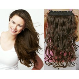 24 inches one piece full head 5 clips clip in hair weft extensions wavy – natural black
