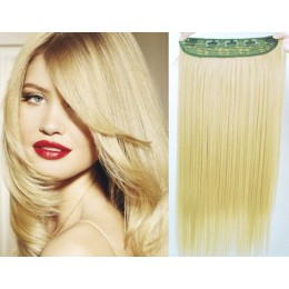 24 inches one piece full head 5 clips clip in kanekalon weft straight – natural blonde