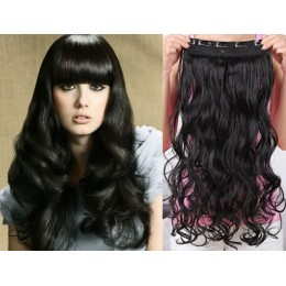 24 inches one piece full head 5 clips clip in kanekalon weft wavy – black