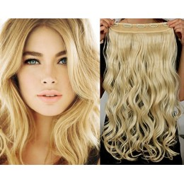 24 inches one piece full head 5 clips clip in kanekalon weft wavy – the lightest blonde