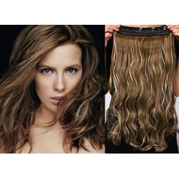 24 inches one piece full head 5 clips clip in kanekalon weft wavy – dark brown / blonde