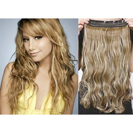 24 inches one piece full head 5 clips clip in kanekalon weft wavy – mixed blonde