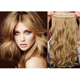 24 inches one piece full head 5 clips clip in kanekalon weft wavy – light blonde / natural blonde