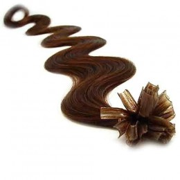 24 inch (60cm) Nail tip / U tip human hair pre bonded extensions wavy - medium brown