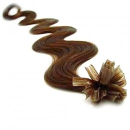24 inch (60cm) Nail tip / U tip human hair pre bonded extensions wavy - medium light brown