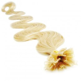 24 inch (60cm) Nail tip / U tip human hair pre bonded extensions wavy - the lightest blonde