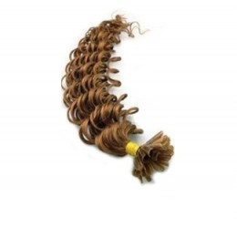 20 inch (50cm) Nail tip / U tip human hair pre bonded extensions curly - light brown