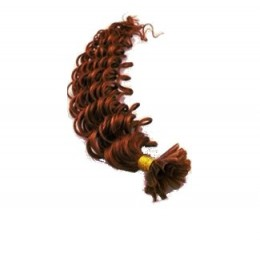 20 inch (50cm) Nail tip / U tip human hair pre bonded extensions curly - copper red