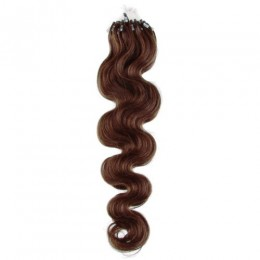20 inch (50cm) Micro ring / easy ring human hair extensions wavy - medium brown