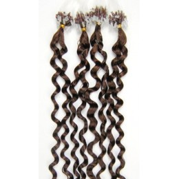 24 inch (60cm) Micro ring / easy ring human hair extensions curly - medium light brown