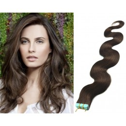 20 inch (50cm) Tape Hair / Tape IN human REMY hair wavy - dark brown