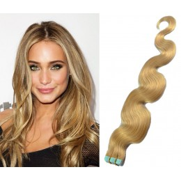 20 inch (50cm) Tape Hair / Tape IN human REMY hair wavy - natural blonde