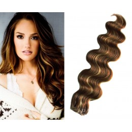 24 inch (60cm) Tape Hair / Tape IN human REMY hair wavy - dark brown / blonde