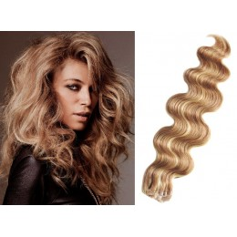 24 inch (60cm) Tape Hair / Tape IN human REMY hair wavy - light blonde / natural blonde