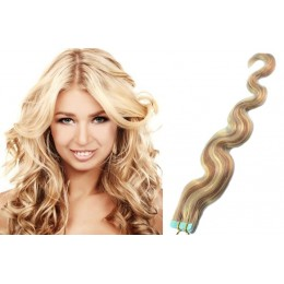 24 inch (60cm) Tape Hair / Tape IN human REMY hair wavy - platinum / light brown
