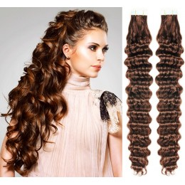 24 inch (60cm) Tape Hair / Tape IN human REMY hair curly - medium brown