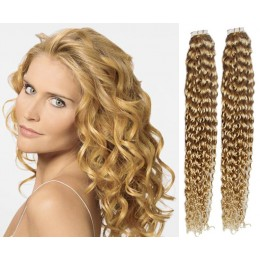 24 inch (60cm) Tape Hair / Tape IN human REMY hair curly - natural blonde