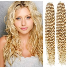 24 inch (60cm) Tape Hair / Tape IN human REMY hair curly - the lightest blonde
