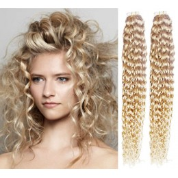 24 inch (60cm) Tape Hair / Tape IN human REMY hair curly - platinum