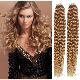 24 inch (60cm) Tape Hair / Tape IN human REMY hair curly - light blonde / natural blonde