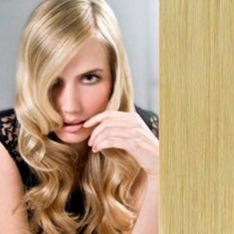 16 inch (40cm) Clip in human hair 100g - natural blonde